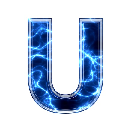 Electric 3d letter on white background - u