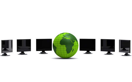 green globe and lcd monitors photo
