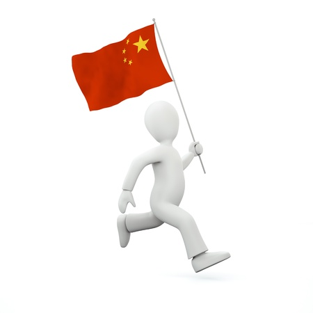 chinese flag: Holding a chinese flag