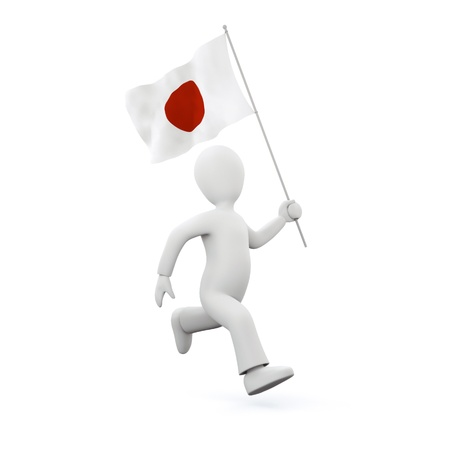 Holding a japenese flag