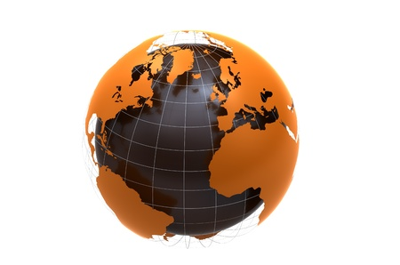 globe illustration: 3d orange globe on white background
