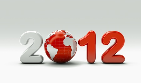 worldwide wish: 3d new year 2012 shape on white background with 3d globe