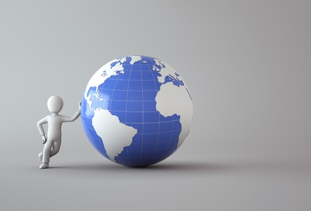 human geography: 3d character with blue globe