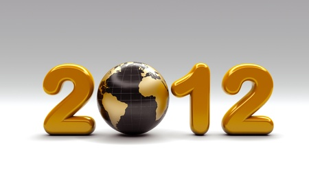 worldwide wish: 3d new year 2012 shape
