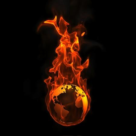 erde gelb: Erde in Brand Lizenzfreie Bilder