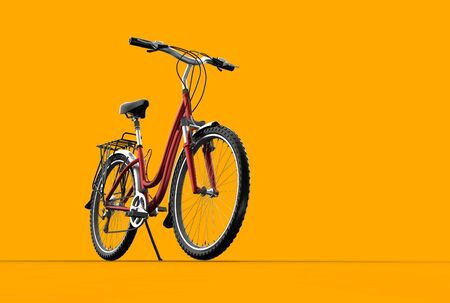 3D mountain bike on orange background photo