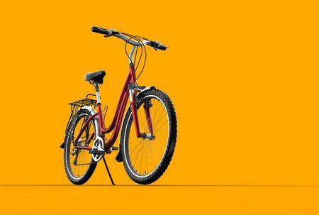 handle bars: 3D mountain bike on orange background Stock Photo