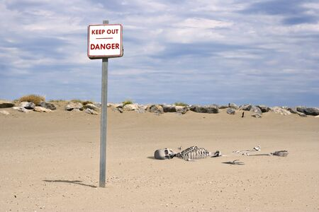 forbidding: 3d picture of a skeleton in the sand