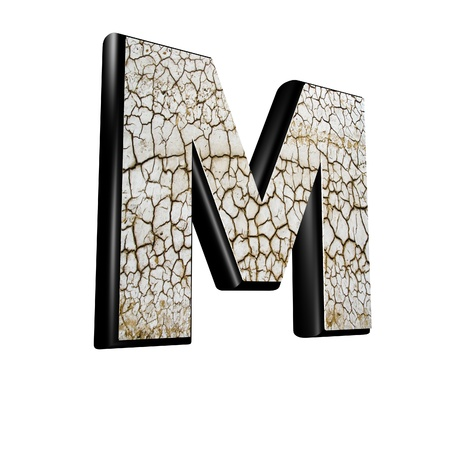 rendered: abstract 3d letter with dry ground texture - M