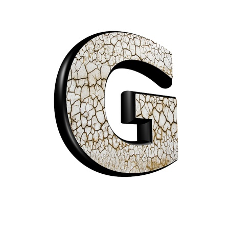 g alphabet: abstract 3d letter with dry ground texture - G
