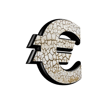 curren: abstract 3d currency sign with dry ground texture - euros curren