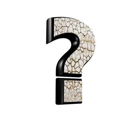 point d interrogation: abstrait signe 3d avec la texture de sol sec - point d'interrogation Banque d'images