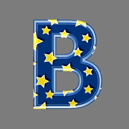 saturated color: 3d letter with star pattern - B