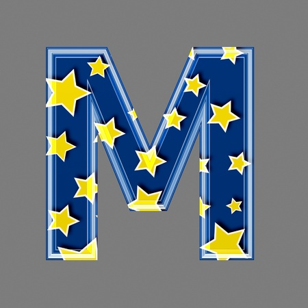 upper case: 3d letter with star pattern - M Stock Photo
