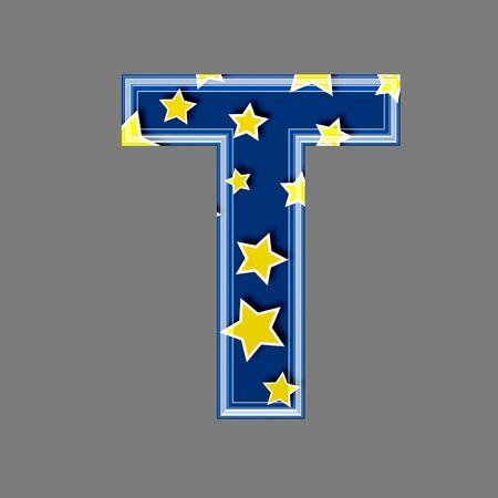 3d letter with star pattern - T photo
