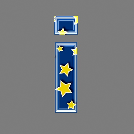 lower: 3d letter with star pattern - I
