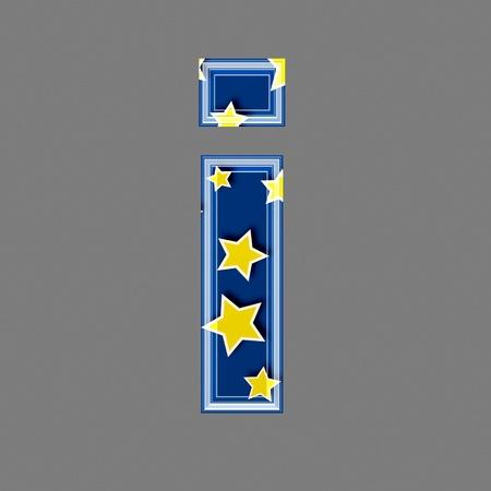 letter case: 3d letter with star pattern - I