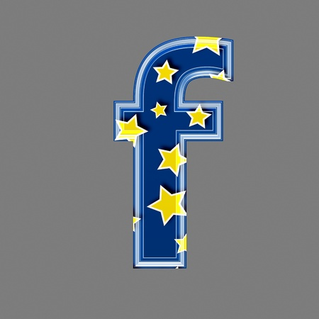 saturated color: 3d letter with star pattern - F