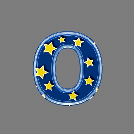 letter case: 3d letter with star pattern - O Stock Photo