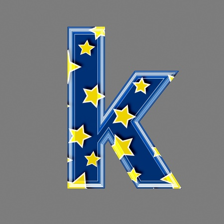 3d letter with star pattern - K photo