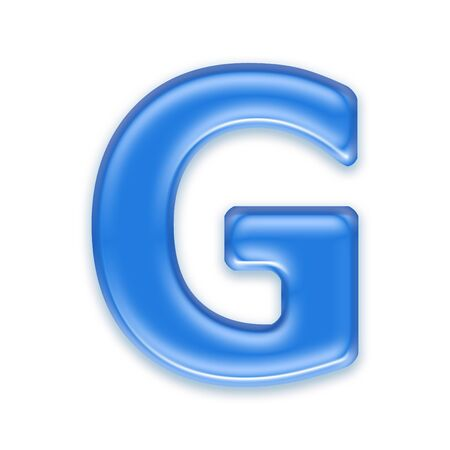 liquid g: Aqua letter isolated on white background  - G