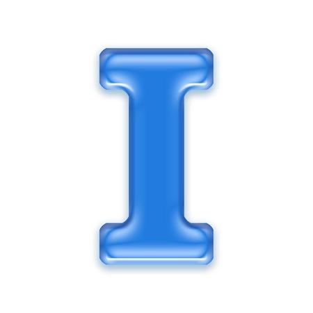 i net: Aqua letter isolated on white background  - I