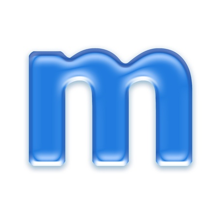 letter case: Aqua letter isolated on white background  - m Stock Photo