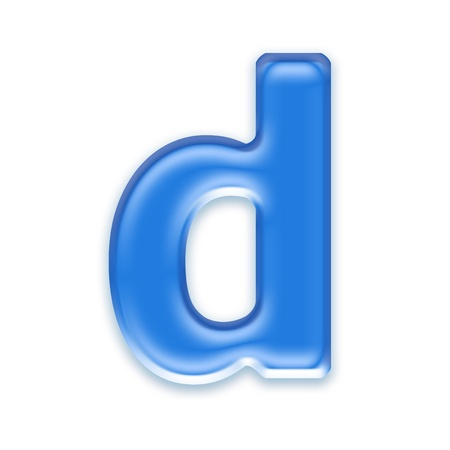 lower: Aqua letter isolated on white background  - d Stock Photo