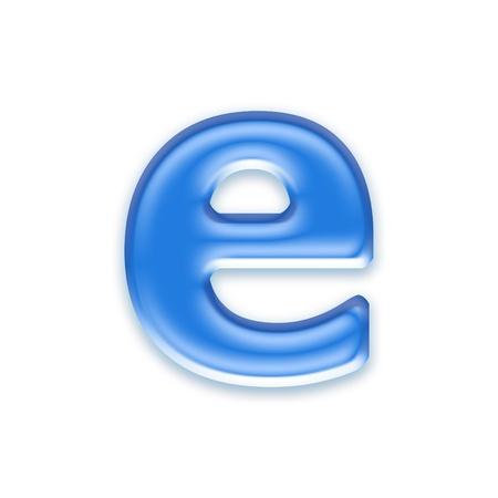e liquid: Aqua letter isolated on white background  - e Stock Photo