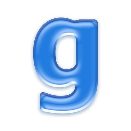 liquid g: Aqua letter isolated on white background  - g
