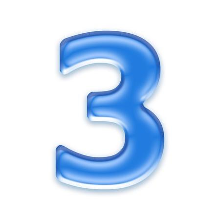 osx: Aqua digit isolated on white background - 3