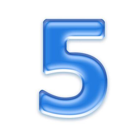 osx: Aqua digit isolated on white background - 5