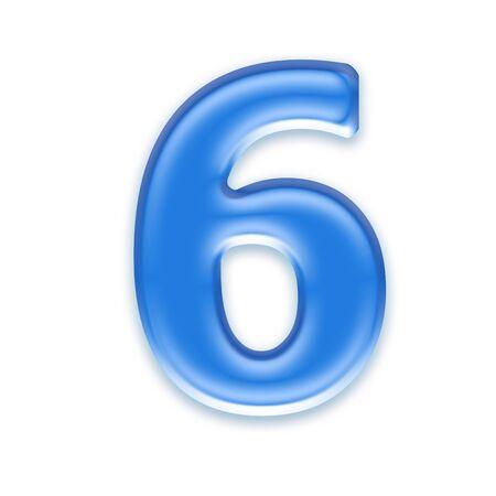 osx: Aqua digit isolated on white background - 6