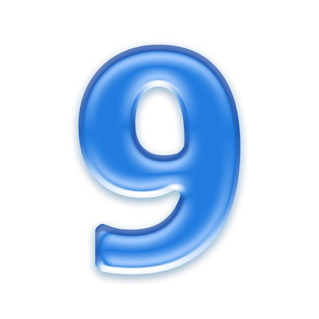 osx: Aqua digit isolated on white background - 9