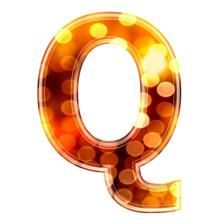 3d letter with glowing lights texture - Q photo