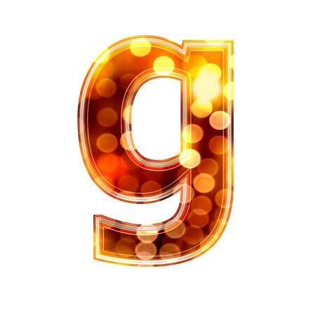 g spot: 3d letter with glowing lights texture - g Stock Photo