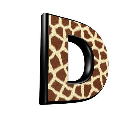 3d letter with giraffe fur texture - D photo