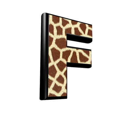 forest conservation: 3d letter with giraffe fur texture - F Stock Photo