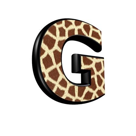 g giraffe: 3d letter with giraffe fur texture - G
