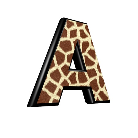 3d letter with giraffe fur texture - A photo