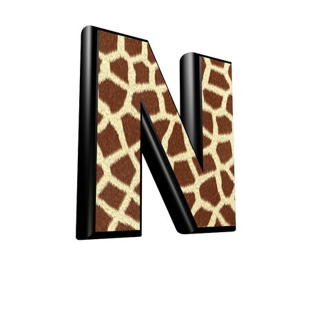 3d letter with giraffe fur texture - N photo