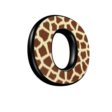 3d letter with giraffe fur texture - O photo
