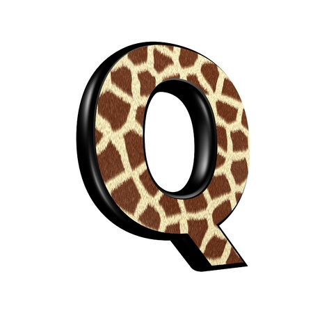 3d letter with giraffe fur texture - Q photo