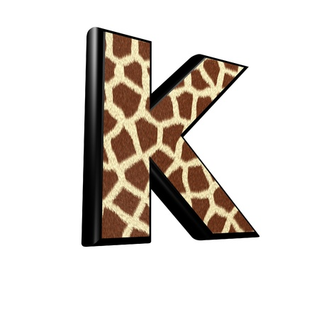 3d letter with giraffe fur texture - K photo