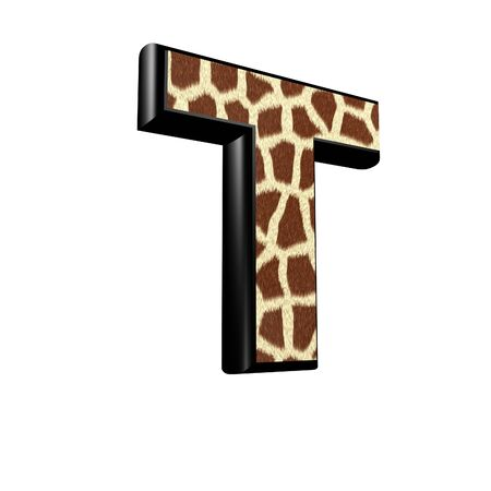 3d letter with giraffe fur texture - T photo