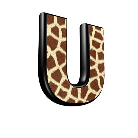3d letter with giraffe fur texture - U photo