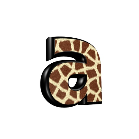 lower: 3d letter with giraffe fur texture - a Stock Photo