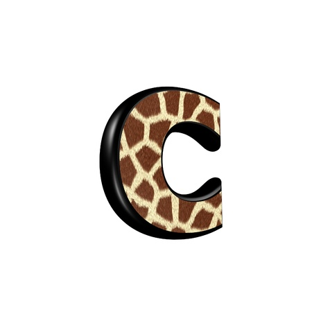 skin color: 3d letter with giraffe fur texture - c