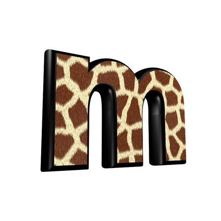 3d letter with giraffe fur texture - m photo