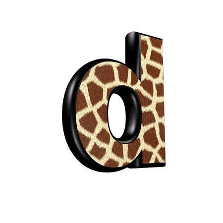 3d letter with giraffe fur texture - d photo